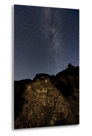 The Milky Way Above an Ancient Native American Petroglyph in the Owens Valley of Sierra-Babak Tafreshi-Metal Print