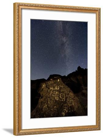The Milky Way Above an Ancient Native American Petroglyph in the Owens Valley of Sierra-Babak Tafreshi-Framed Photographic Print