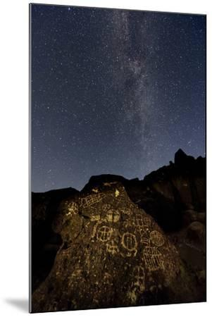 The Milky Way Above an Ancient Native American Petroglyph in the Owens Valley of Sierra-Babak Tafreshi-Mounted Photographic Print