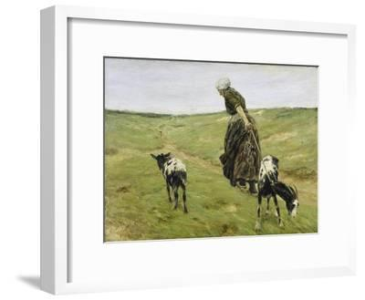 Woman with goats on the dunes. 1890-Max Liebermann-Framed Giclee Print