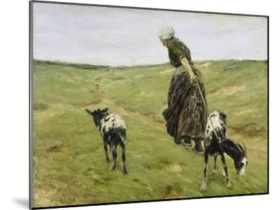 Woman with goats on the dunes. 1890-Max Liebermann-Mounted Giclee Print