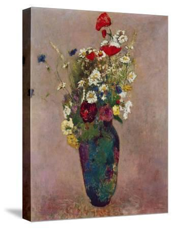 Poppies and other flowers in a vase-Odilon Redon-Stretched Canvas Print