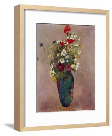 Poppies and other flowers in a vase-Odilon Redon-Framed Giclee Print