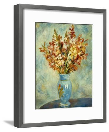 Gladioli in Blue Vase (Glaieuls au Vase Bleu). 1884-Pierre-Auguste Renoir-Framed Giclee Print