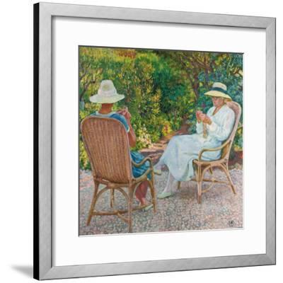 Maria und Elisabeth van Rysselberghe beim Stricken im Garten. Um 1912-Theo van Rysselberghe-Framed Giclee Print