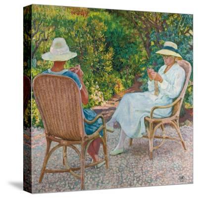 Maria und Elisabeth van Rysselberghe beim Stricken im Garten. Um 1912-Theo van Rysselberghe-Stretched Canvas Print