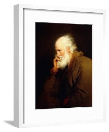 An Old Man, half-length, in a Brown Fur-lined Coat-Joseph Wright of Derby-Framed Giclee Print