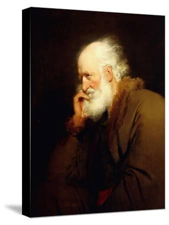 An Old Man, half-length, in a Brown Fur-lined Coat-Joseph Wright of Derby-Stretched Canvas Print