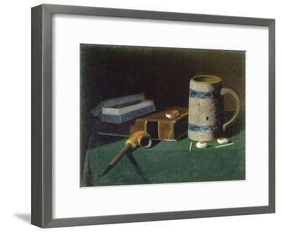 Still life with book, pipe and beer mug-John Prederick Peto-Framed Giclee Print