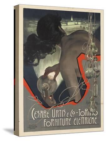 Werbeplakat für den italienischen Leuchtmittelhersteller 'Cesare Urtis & Co.' 1889-Adolf Hohenstein-Stretched Canvas Print