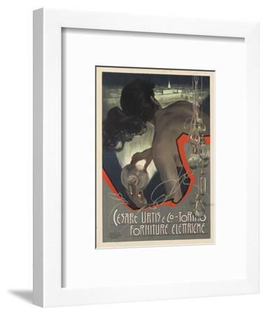Werbeplakat für den italienischen Leuchtmittelhersteller 'Cesare Urtis & Co.' 1889-Adolf Hohenstein-Framed Giclee Print