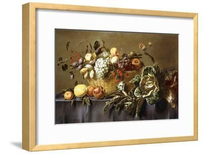 A Basket of Fruit on a Draped Table. About 1635-Adriaen van Utrecht-Framed Giclee Print