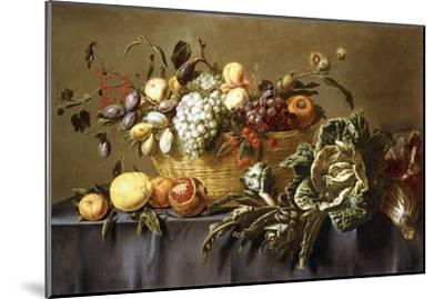 A Basket of Fruit on a Draped Table. About 1635-Adriaen van Utrecht-Mounted Giclee Print