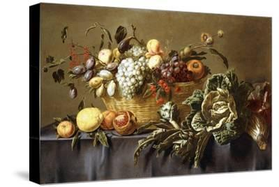 A Basket of Fruit on a Draped Table. About 1635-Adriaen van Utrecht-Stretched Canvas Print
