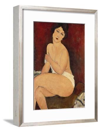 Sitzender Akt auf einem Diwan (oder: La belle Romaine). 1917-Amadeo Modigliani-Framed Giclee Print