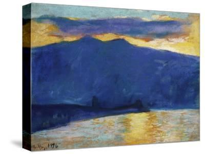 Sonnenaufgang am Gardasee. 1896-Lesser Ury-Stretched Canvas Print