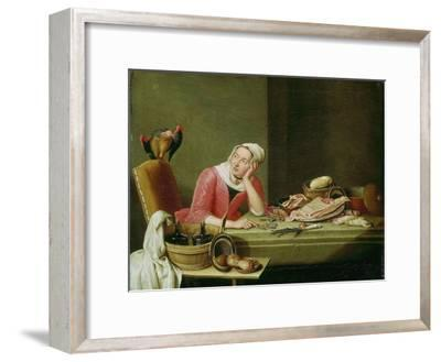 Still life with cookmaid counting money and a parrot-Peter Jakob Horemans-Framed Giclee Print