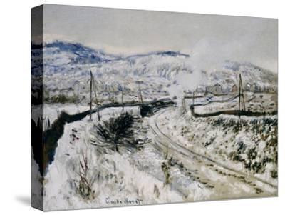 Train in the Snow at Argenteuil. Train dans la Neige a Argenteuil. 1875-Claude Monet-Stretched Canvas Print