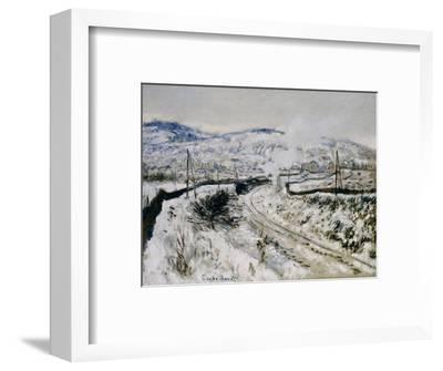 Train in the Snow at Argenteuil. Train dans la Neige a Argenteuil. 1875-Claude Monet-Framed Giclee Print