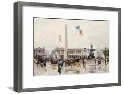 A View of the Place de la Concorde, Paris-Ulpiano Checa Y Sanz-Framed Giclee Print
