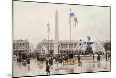 A View of the Place de la Concorde, Paris-Ulpiano Checa Y Sanz-Mounted Giclee Print