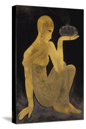 'Perfume'. A maiden scantily clad in an oriental style shawl, holding an incense burner. C. 1925-Jean Dunand-Stretched Canvas Print