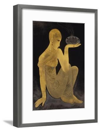 'Perfume'. A maiden scantily clad in an oriental style shawl, holding an incense burner. C. 1925-Jean Dunand-Framed Giclee Print