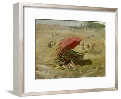 Der rote Schirm. Um 1860-Franz Von Lenbach-Framed Giclee Print