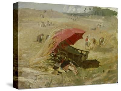 Der rote Schirm. Um 1860-Franz Von Lenbach-Stretched Canvas Print