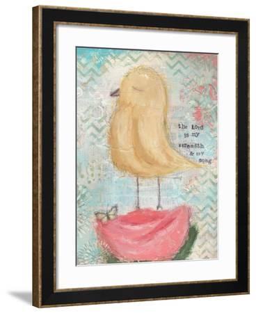 Yellow Bird, Pink Flower-Cassandra Cushman-Framed Art Print