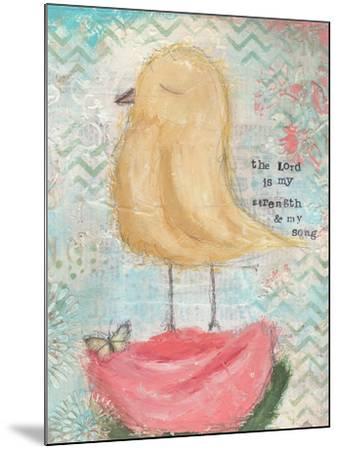 Yellow Bird, Pink Flower-Cassandra Cushman-Mounted Art Print