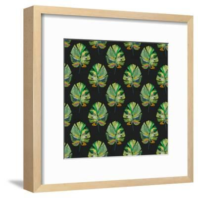 Tropical Leaves - Black-Linda Woods-Framed Art Print