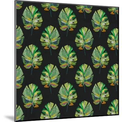 Tropical Leaves - Black-Linda Woods-Mounted Art Print