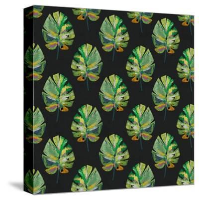 Tropical Leaves - Black-Linda Woods-Stretched Canvas Print