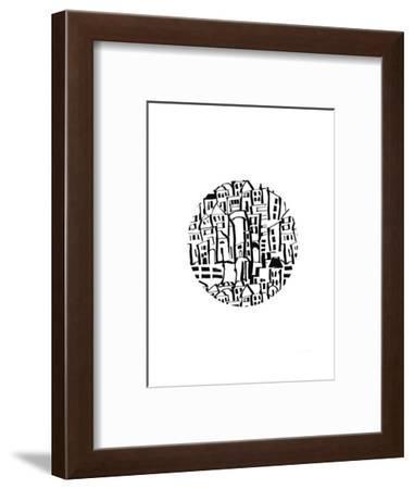 Inky Village Ball-Linda Woods-Framed Art Print