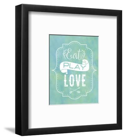 Eat, Play, Love - Blue-Tammy Apple-Framed Art Print