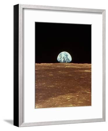Apollo 11 View of Earth Rising Over Moon's Horizon--Framed Photographic Print