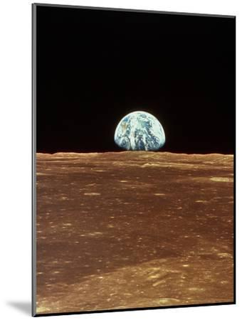 Apollo 11 View of Earth Rising Over Moon's Horizon--Mounted Photographic Print