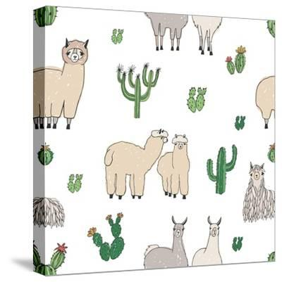 Hand Drawn Doodle Seamless Pattern with Alpaca, Llama, Cactuses-GoodStudio-Stretched Canvas Print