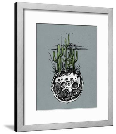 Hand Drawn Illustration or Drawing of a Moon with Some Cactus and Desert Plants on It-bernardojbp-Framed Art Print