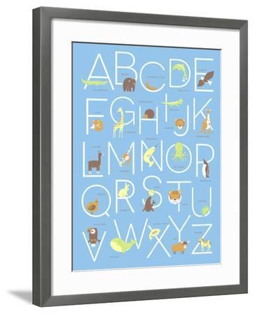 Illustrated Animal Alphabet ABC Poster Design-TeddyandMia-Framed Premium Giclee Print