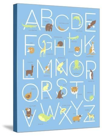 Illustrated Animal Alphabet ABC Poster Design-TeddyandMia-Stretched Canvas Print