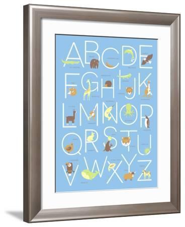 Illustrated Animal Alphabet ABC Poster Design-TeddyandMia-Framed Art Print