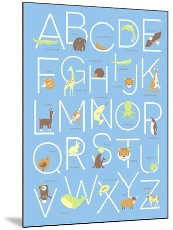 Illustrated Animal Alphabet ABC Poster Design-TeddyandMia-Mounted Art Print
