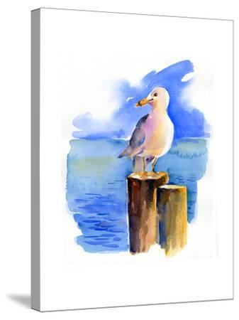 Seagull on Dock, 2014-John Keeling-Stretched Canvas Print