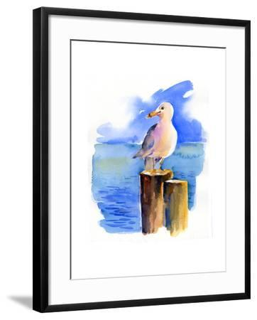 Seagull on Dock, 2014-John Keeling-Framed Giclee Print