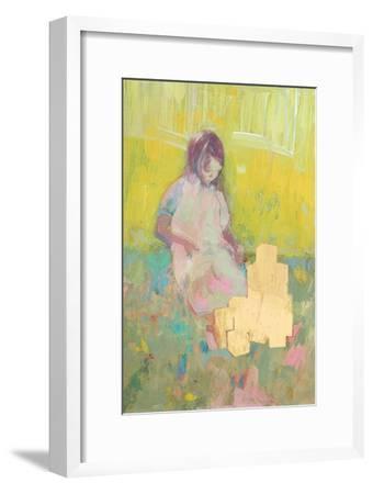 Girl and Building Blocks, 2016-David McConochie-Framed Giclee Print