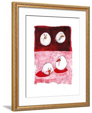 Birds on Black and White on Red-Thomas MacGregor-Framed Giclee Print