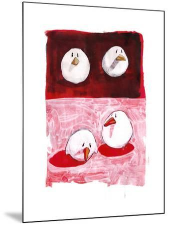 Birds on Black and White on Red-Thomas MacGregor-Mounted Giclee Print