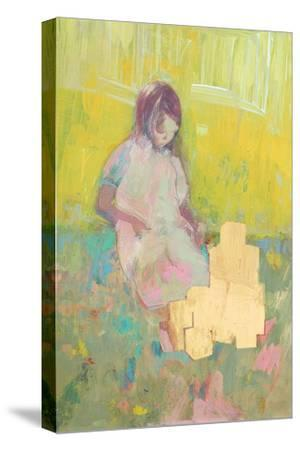 Girl and Building Blocks, 2016-David McConochie-Stretched Canvas Print